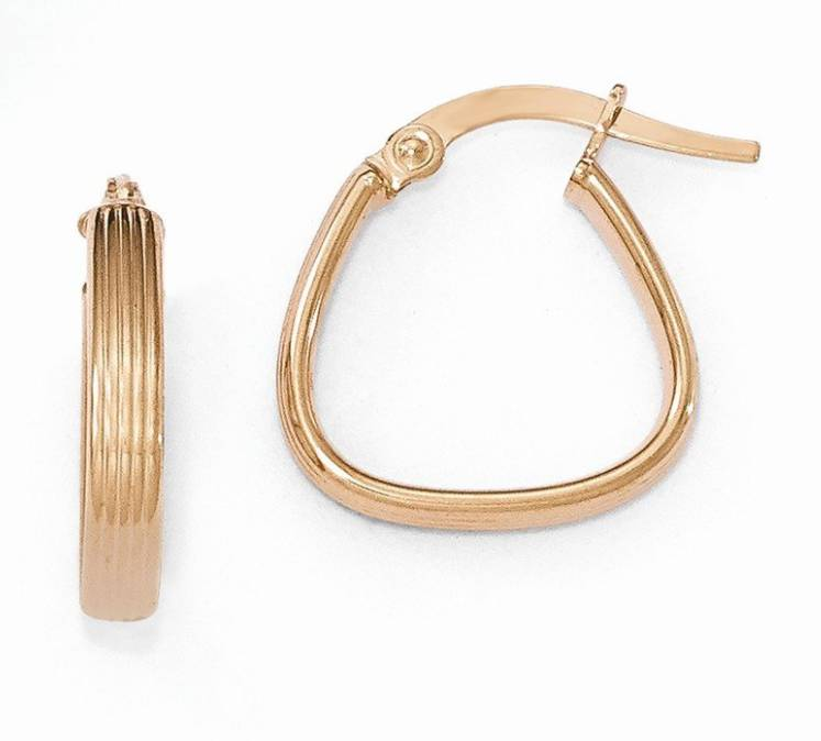 14K Rose Gold Polished Textured Hoops