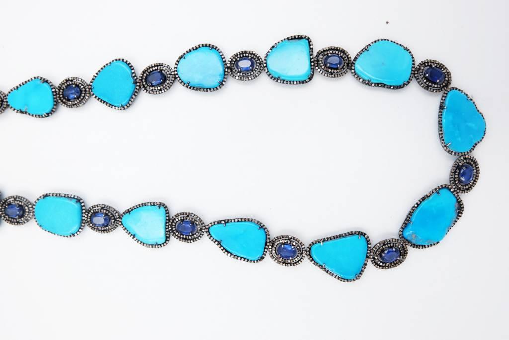 Turquoise Tanzanite Pave Neck