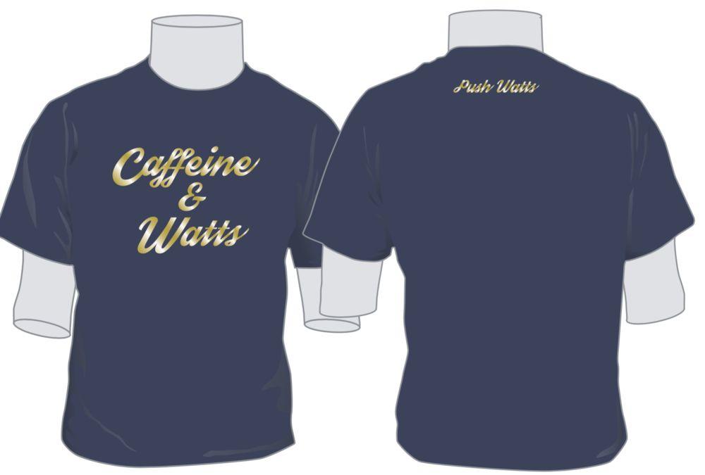 Caffeine & Watts Men's Blue & Gold Tee