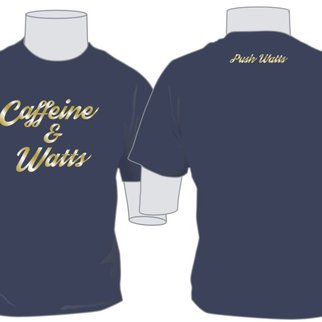 Caffeine & Watts Lady's Blue & Gold Tee