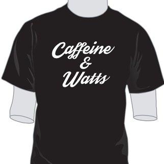 Caffeine & Watts Men's Grey & White Tee