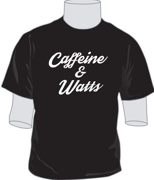 Caffeine & Watts Men's Grey & White Tee