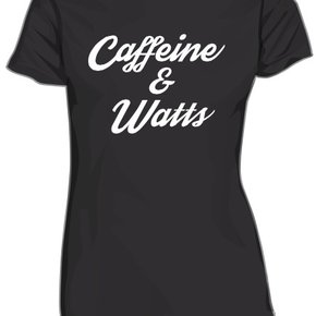 Caffeine & Watts Lady's Grey & White Tee