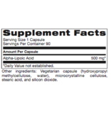 Basic ALPHA LIPOIC ACID 500 mg 90CT <br /> (PROTHERA/KLAIRE)  (Previuosly SLOW RELEASE ALA from Numedica: Same Instructions)