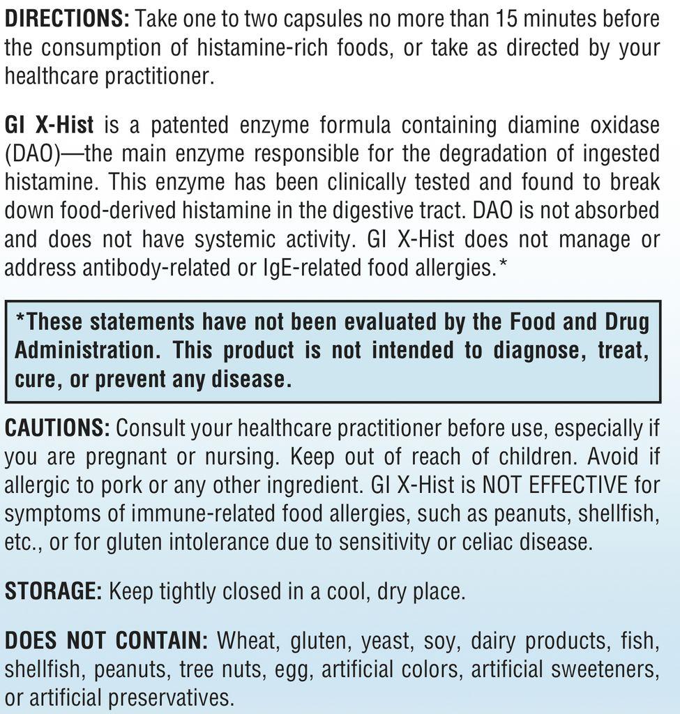 Gastrointestinal Support GI X-HIST 60 CT (XYMOGEN)