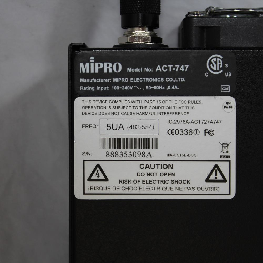 MIPRO ACT-747a 482-554 MHz, 4-channel wireless receiver.<br /> Includes power cord.