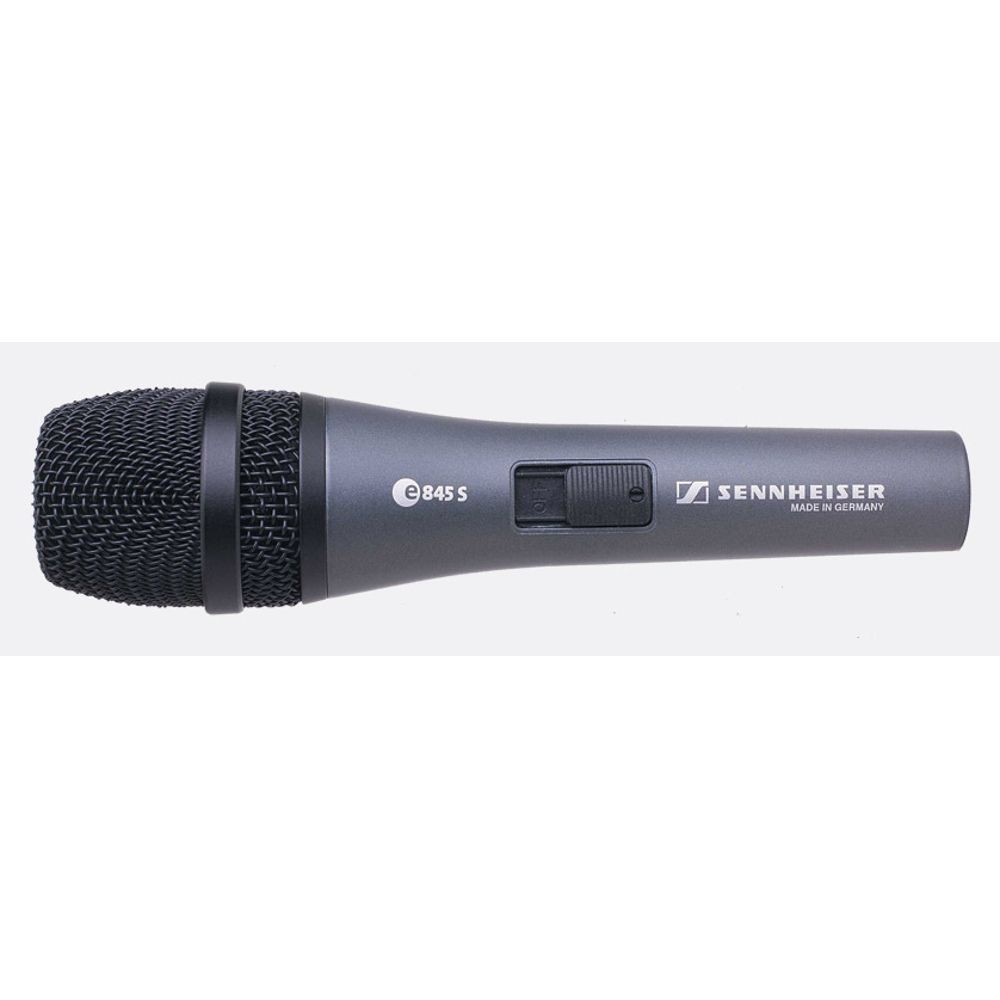 Sennheiser Sennheiser e845-S Handheld super-cardioid dynamic microphone with on/off switch.