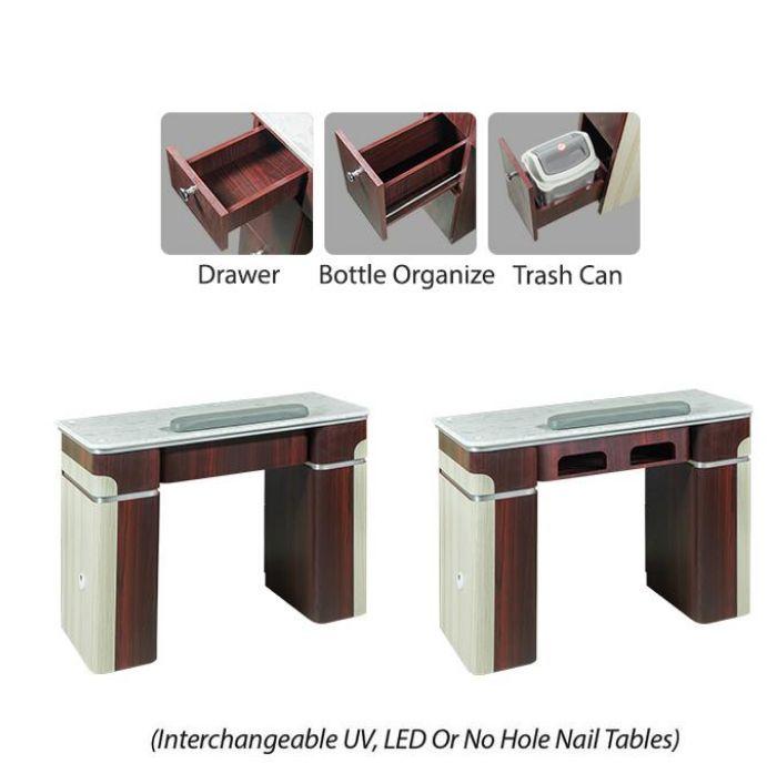"""Nail Table - 39 1/4"""" - 1-Hole LED (90)"""