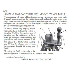 Lacis Skein Winder Converter for Legacy Wood Swifts