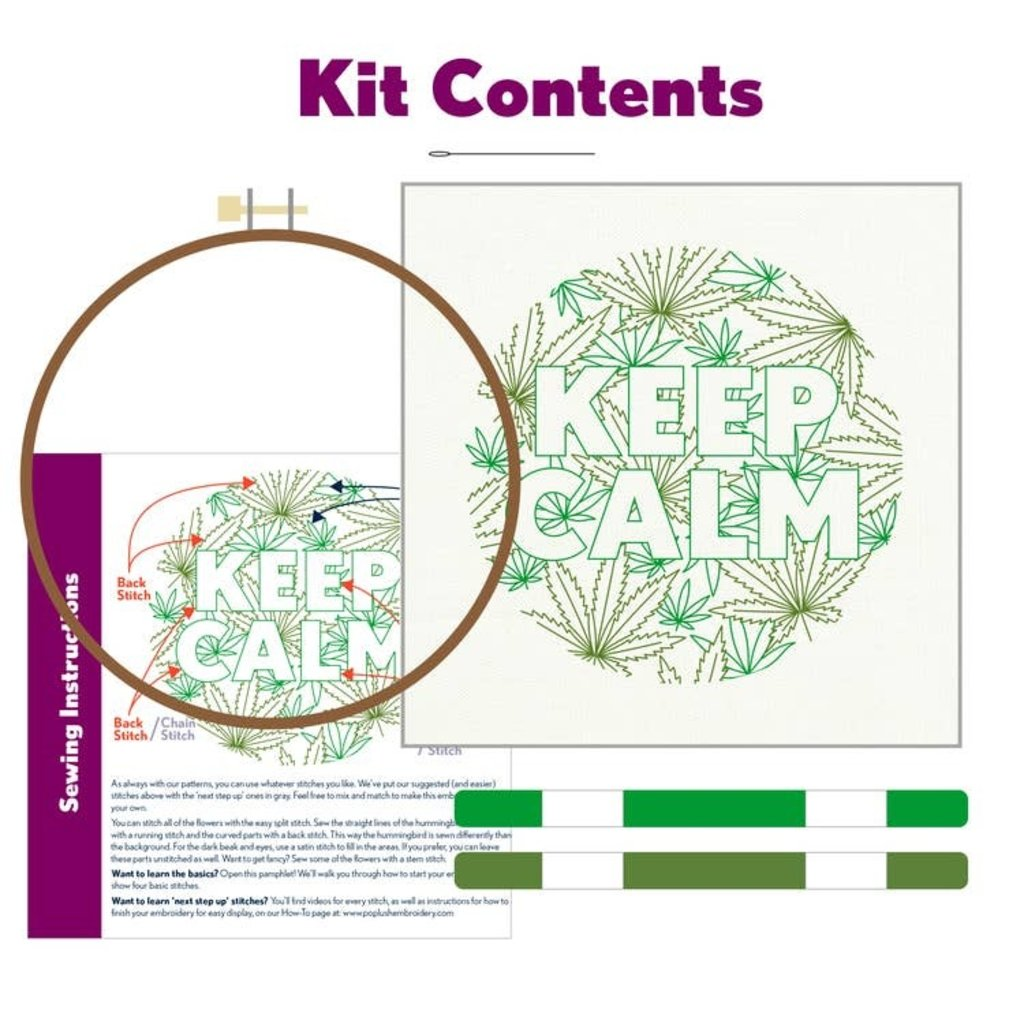 Pop Lush Embroidery Keep Calm Embroidery Kit