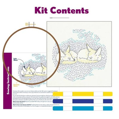 Pop Lush Embroidery Dreaming Foxes Embroidery Kit