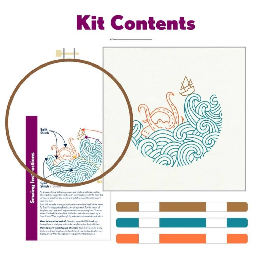 Pop Lush Embroidery The Kraken! Embroidery Kit