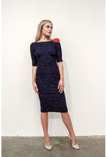 NAVY W/RED TRIM FITTED DRESS