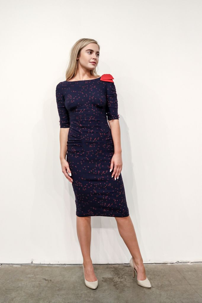 1026b1ce9381 NAVY W/RED TRIM FITTED DRESS - Bridge Boutique