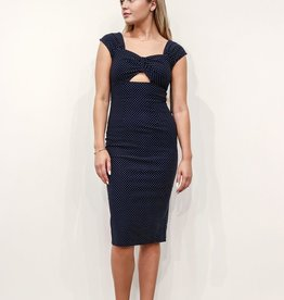 REYNA KEYHOLE FITTED DRESS IN NAVY W/WHITE POLKA DOTS