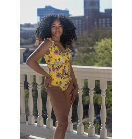 RUFFLED SHOULDER YELLOW FLORAL ONE PIECE SWIMSUIT