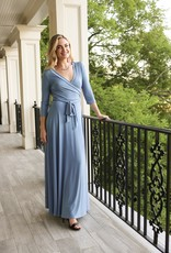 BRIDGE BRIDGE MAXI 3/4 SLEEVE-DENIM BLUE