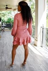 BRIDGE 27156B01 Knit long puff sleeved peasant dress