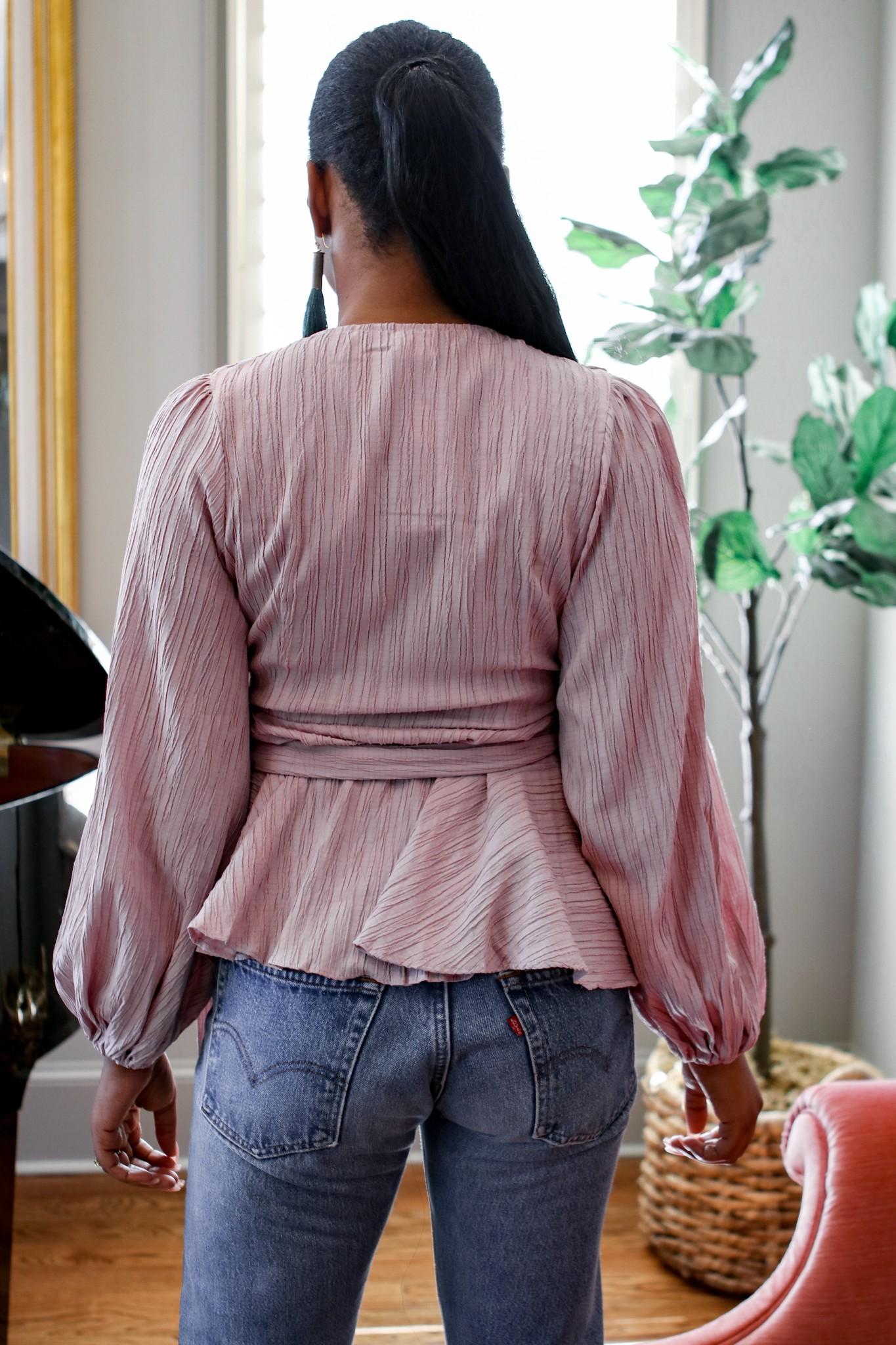 BRIDGE ST1712D Front self tie textured wrap blouse