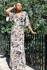 BRIDGE Venechia print short bell-sleeve, maxi wrap dress, with leg slit