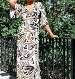 BRIDGE Short Bell-Sleeve Maxi Dress