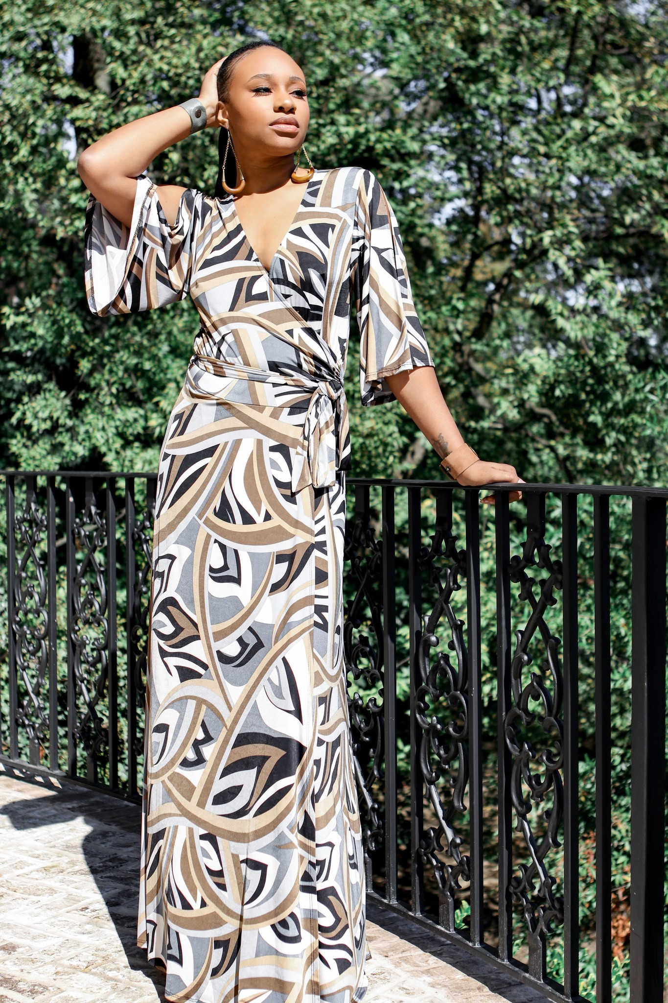 BRIDGE Venechia print short bell-sleeve, maxi wrap dress, with leg slit