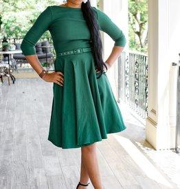 Emerald Green Stretch Sleeved Devon Swing Dress