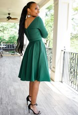 Unique Vintage 1950s Style Emerald Green Stretch Sleeved Devon Swing Dress
