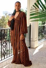 BRIDGE 68-399LDJ Striped Choker Maxi Dress