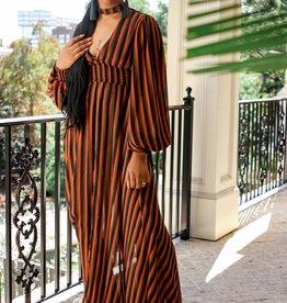 BRIDGE Striped Choker Maxi Dress