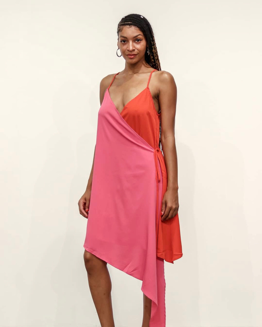 BRIDGE SHERBERT WRAP FRONT DRESS