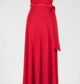 BRIDGE CAP MAXI WRAP DRESS- RED