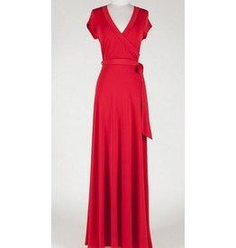 BRIDGE CAP MAXI WRAP DRESS- RED