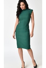 Emerald Stretch High Collar Laverne Wiggle Dress