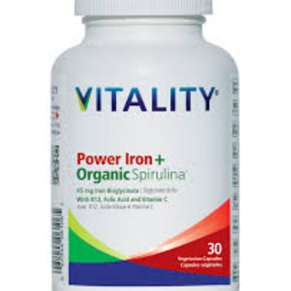 Vitality Vitality Power Iron + Organic Spirulina 30 vcaps