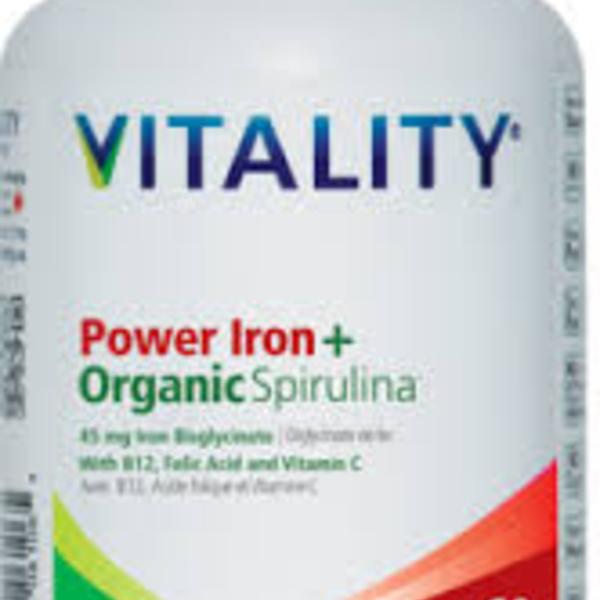 Vitality Vitality Power Iron + Organic Spirulina 60 Vcap