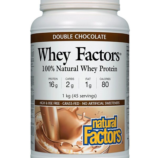 Natural Factors Natural Factors Whey Factors 100% Natural Whey Protein, Double Chocolate 1kg
