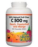Natural Factors Natural Factors 100% Natural Fruit Chew C 500mg Peach, Passionfruit & Mango 180 chewable