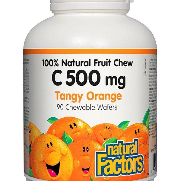 Natural Factors Natural Factors 100% Natural Fruit Chew C 500mg Tangy Orange 90 chewable