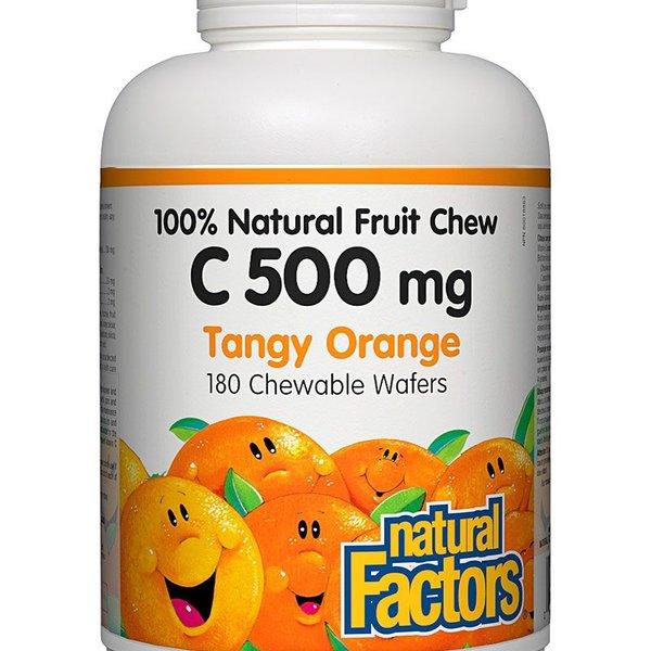 Natural Factors Natural Factors 100% Natural Fruit Chew C 500mg Tangy Orange 180 chewable