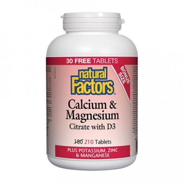 Natural Factors Natural Factors Cal/Mag 1:1 BONUS 210 tabs