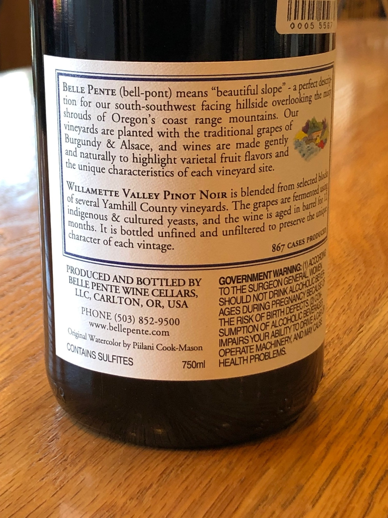 Belle Pente 2016 Belle Pente Willamette Valley Pinot Noir 750ml