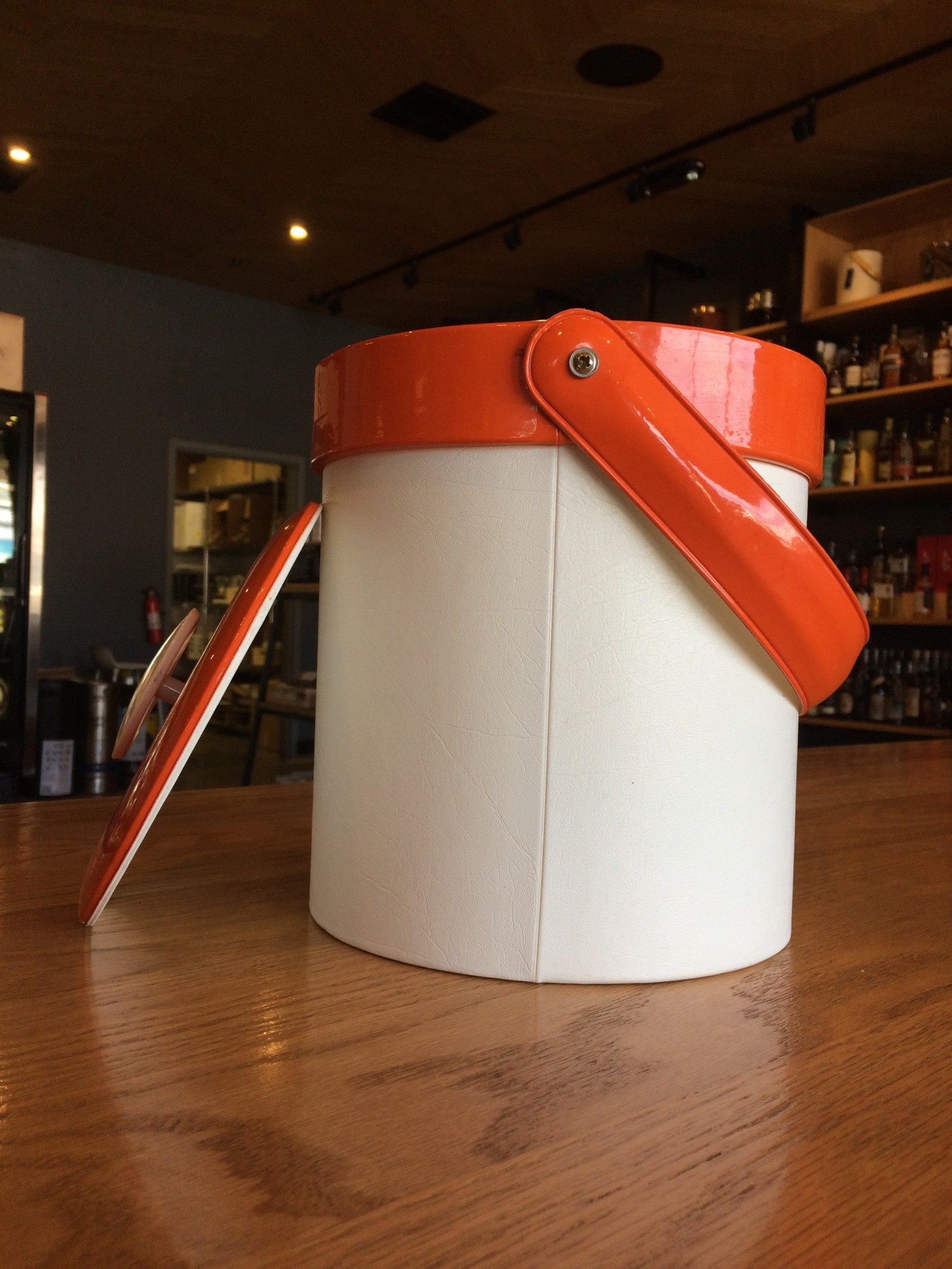 Georges Briard Vintage Georges Briard Orange Vinyl Ice Bucket