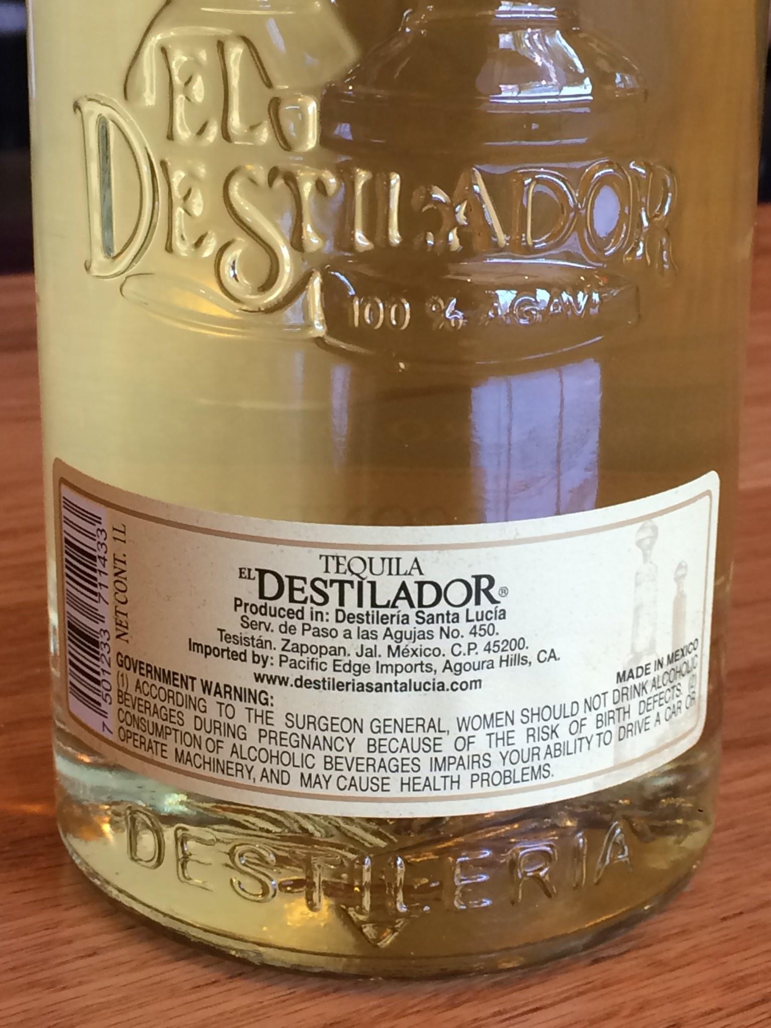 Tequila El Distilador 100% Reposado Round 80 PF