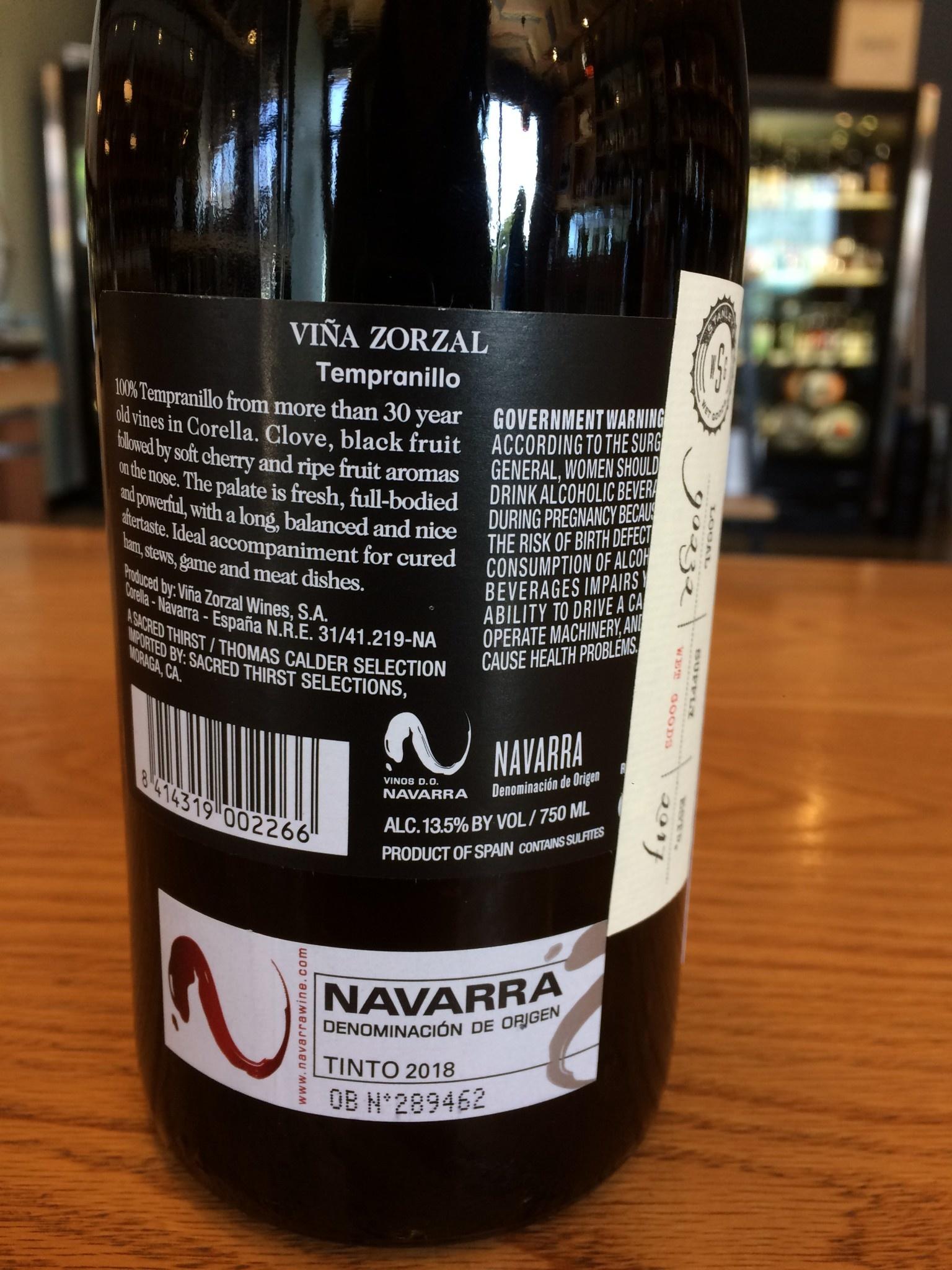 Viña Zorzal 2018 Viña Zorzal Tempranillo, Navarra 750ml