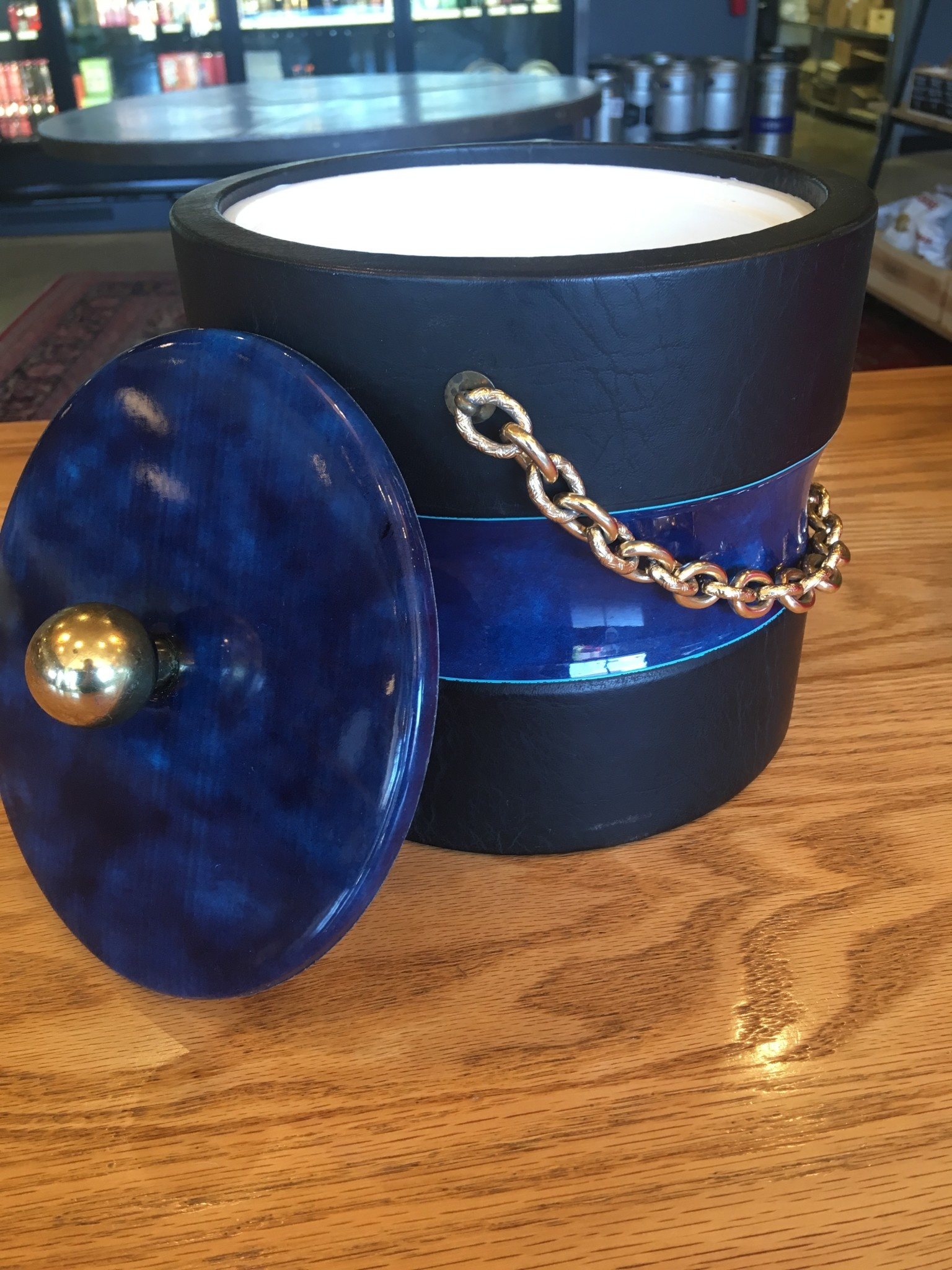 Georges Briard Vintage Georges Briard Ice Bucket Black and Navy with Gold Chain
