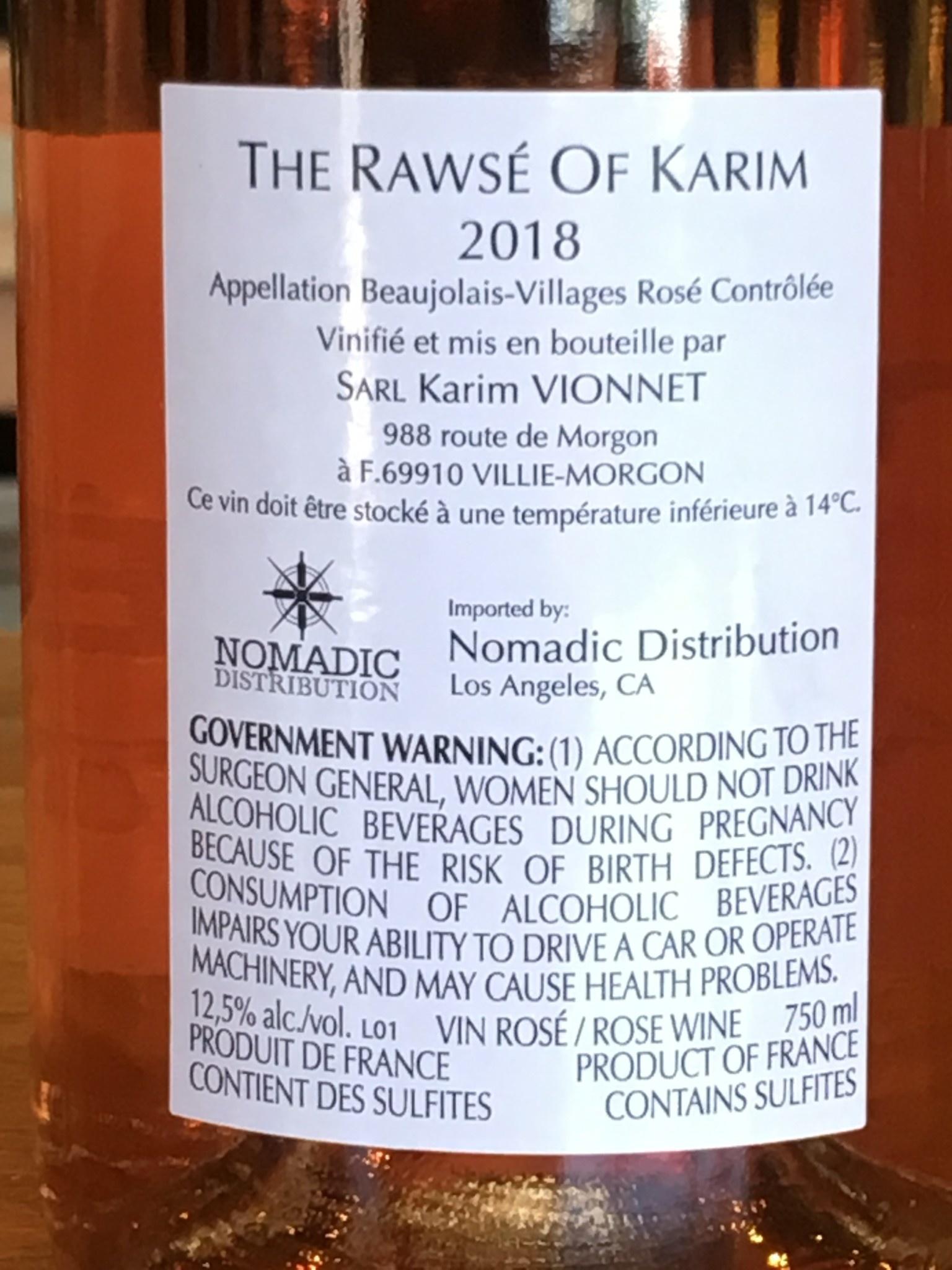 Karim Vionnet 2018 Karim Vionnet 'The Rawsé' Rosé 750ml
