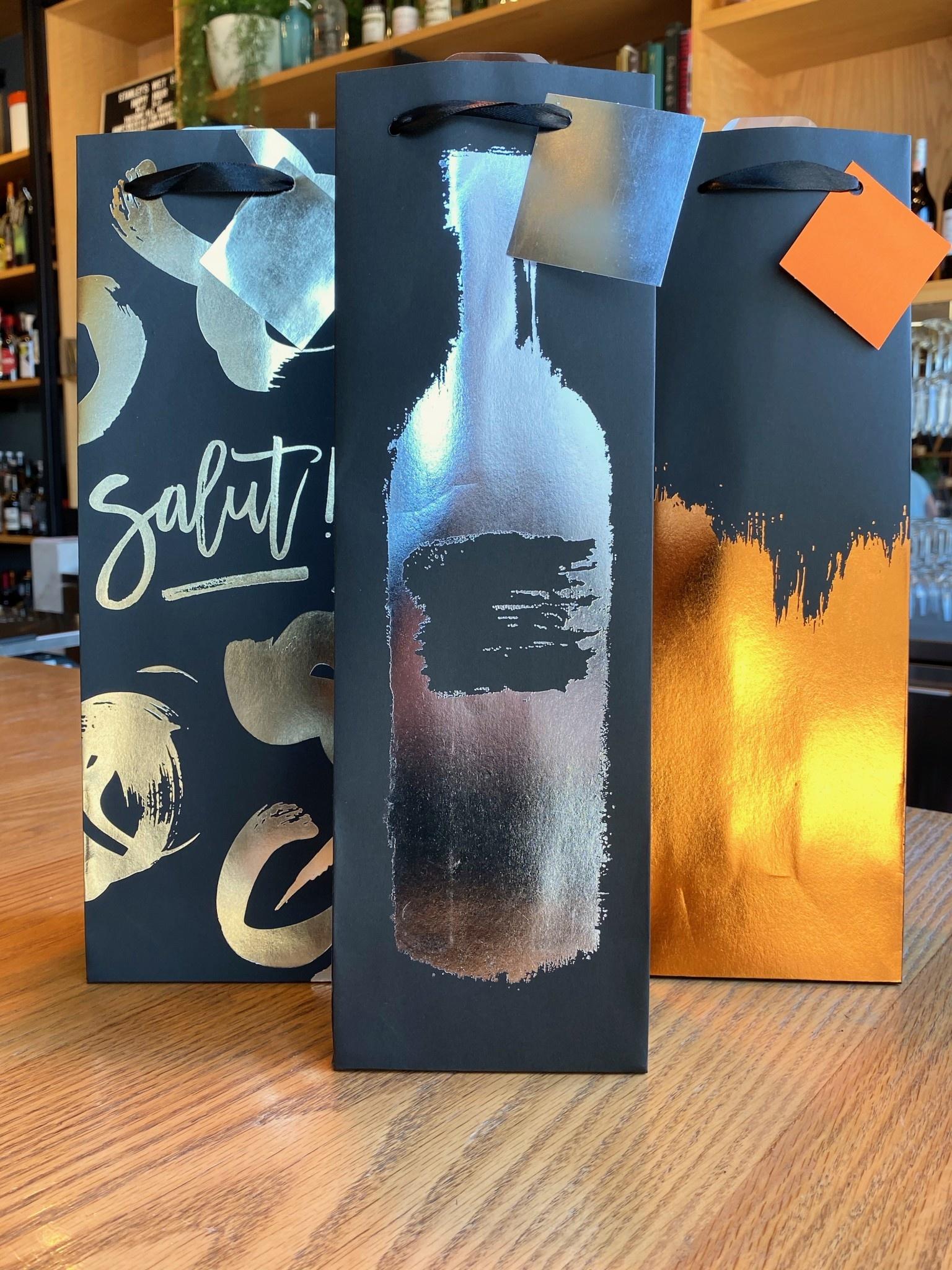 Assorted Metallic Brushstroke Wine Bag