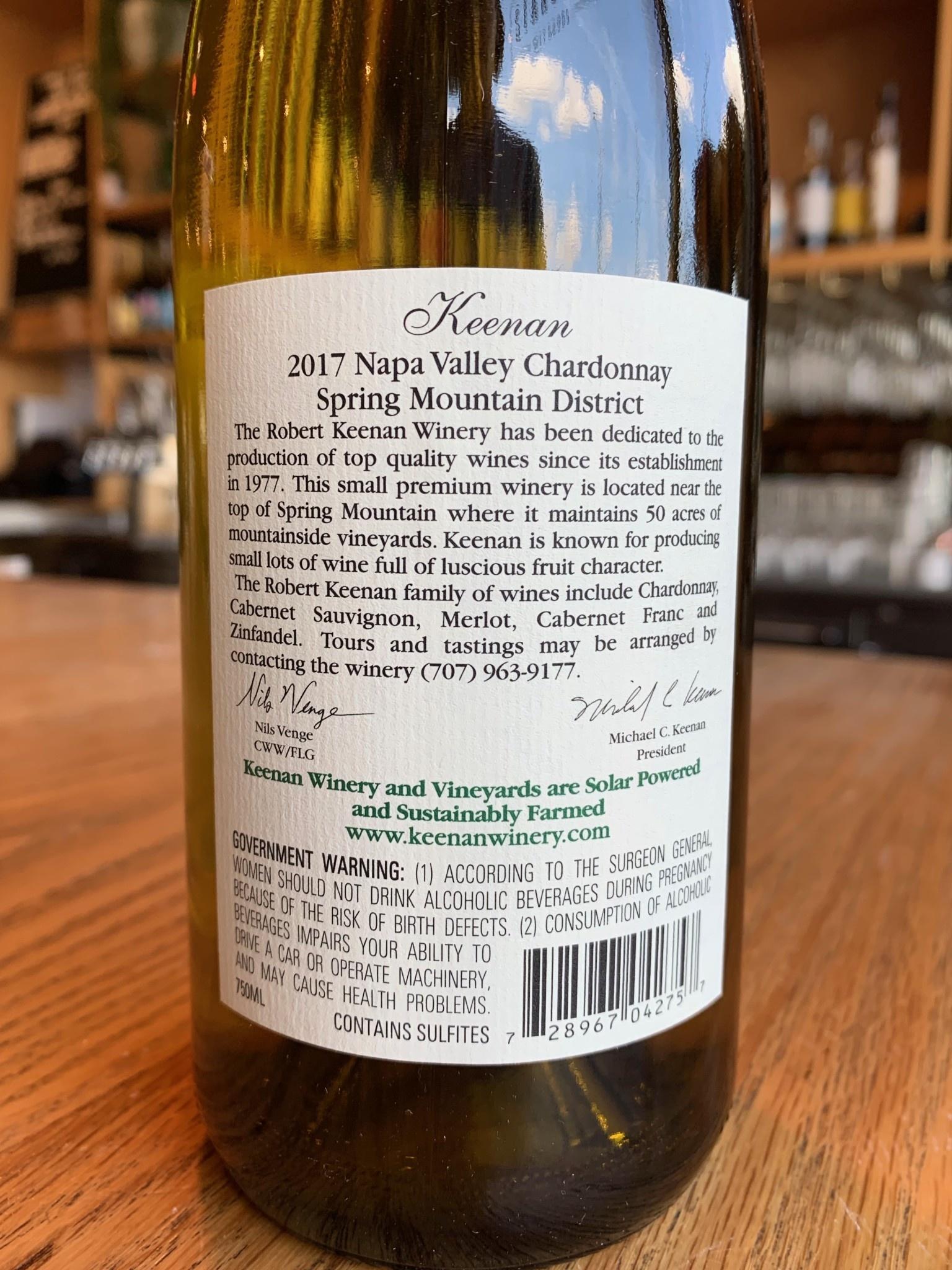 Keenan Winery 2017 Keenan Spring Mountain Chardonnay 750mL
