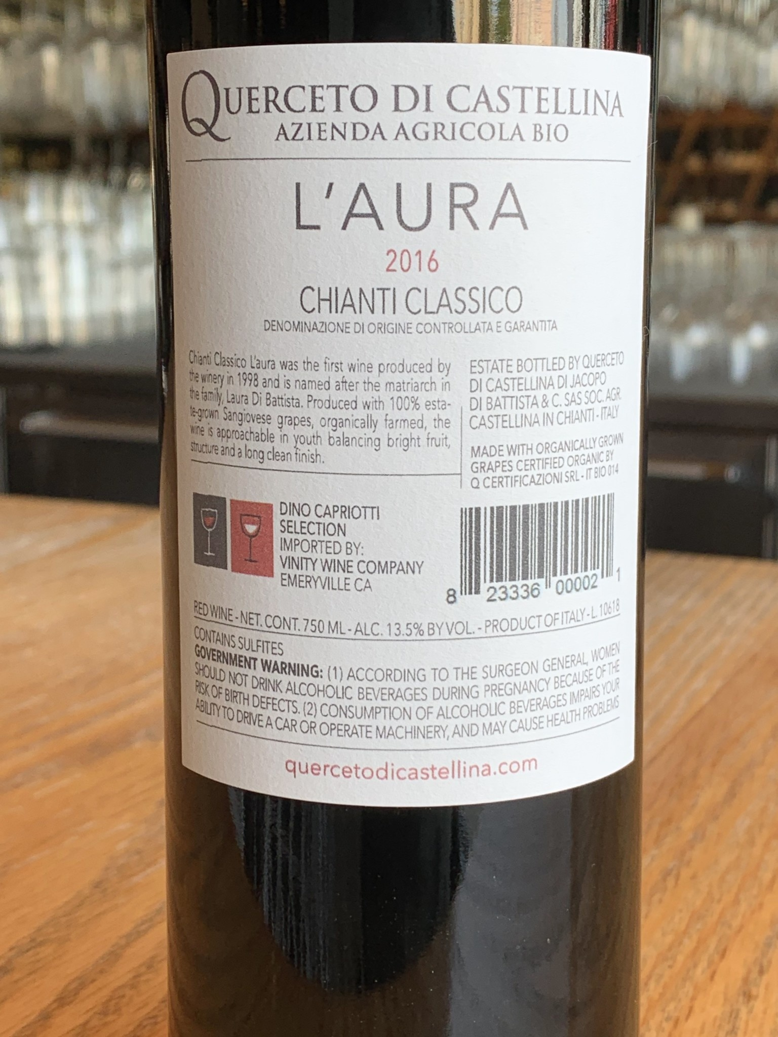 "Querceto di Castellina 2016 Querceto di Castellina ""L'Aura"" Chianti Classico 750ml"